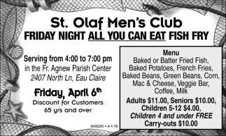 Friday Night All You Can Eat Fish Fry