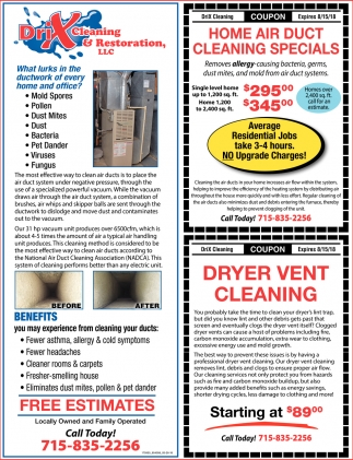 Home Air Duct Cleaning Specials Drix Restoration Eau Claire Wi